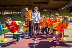 Paula Radcliffe supporting Kids' Athletics in Monaco - 8 April 2015 (Philippe Fitte / IAAF)