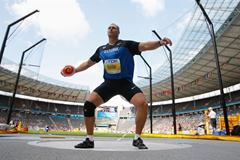 Olympic Discus Champion Gerd Kanter of Estonia in the qualification rounds in Berlin (Getty Images)