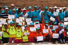 IAAF ambassadors with local children at the IAAF Kids Athletics event in Ait Iktel (Getty Images)