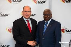 His Serene Highness Prince Albert II of Monaco and IAAF President Lamine Diack on 21 November 2014 (IAAF / Philippe Fitte)