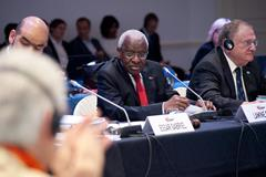 IAAF President Lamine Diack during the IAAF Council meeting, 18 November 2014 (Jon Mulkeen / IAAF)