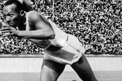 Jesse Owens at the start of the 200m at the 1936 Olympic Games. The legendary American won four gold medals that year. (Getty Images)