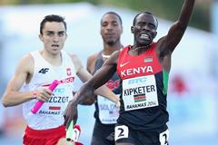 Alfred Kipketer of Kenya celebrates as he crosses the finish line ahead of Adam Kszczot of Poland to win the Mens 4x800 metres relay during day one of the IAAF World Relays  (Getty Images)