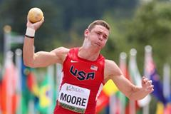 USA's Gabriel Moore in the decathlon shot at the 2014 IAAF World Junior Championships in Eugene (Getty Images)