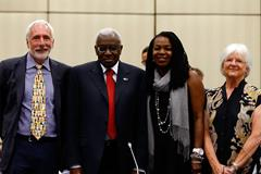 Opening of IAAF Council meeting in Eugene: Vin Lananna, Lamine Diack, Stephanie Hightower, Kitty Piercy (Getty Images)
