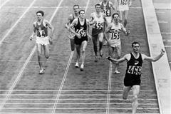 December 1964: New Zealander Peter Snell winning the gold medal in the 1,500 metres at the Tokyo Olympic Games held at the National Stadium. He also won the 800 metres (Getty Images)