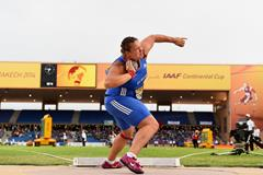 Christina Schwanitz wins the shot at the IAAF Continental Cup, Marrakech 2014 (Getty Images)