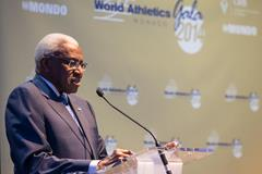 Lamine Diack delivers his speech at the press conference for the 2014 World Athletics Gala (Philippe Fitte / IAAF)