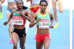 Genzebe Dibaba and Hellen Obiri in the womens 1500m at the IAAF World Athletics Championships Moscow 2013 (Getty Images)