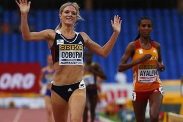 Emma Coburn winning at the 2014 IAAF Continental Cup (Getty Images)
