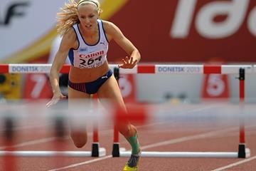 Jana Reissova in the girls' 400m Hurdles at the IAAF World Youth Championships 2013 (Getty Images)