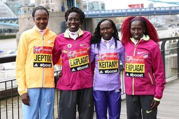 Priscah Jeptoo, Edna Kiplagat, Mary Keitany and Florence Kiplagat ahead of the 2015 Virgin Money London Marathon (Getty Images)