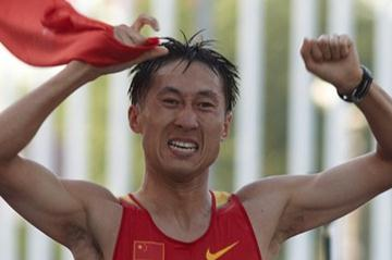 Zhen Wang of China celebrates winning the 20km at the IAAF World Race Walking Cup in Saransk (Getty Images)