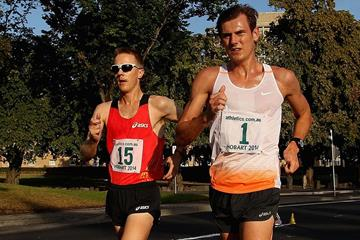 Jared Tallent and Dane Bird-Smith at opening race of the 2014 IAAF Race Walking Challenge in Hobart  (Getty Images)