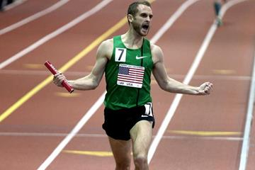 Patrick Casey anchors the USA to victory and a world indoor best in the distance medley relay in New York (Victah Sailer)