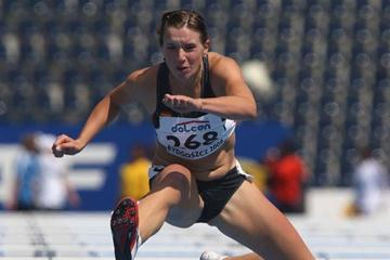 Cindy Roleder of Germany during the Women's 100m Hurdles heats (Getty Images)