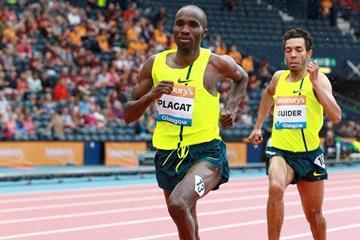 Silas Kiplagat winning the 1500m in the rain at the 2014 IAAF Diamond League meeting in Glasgow (Victah Sailor)