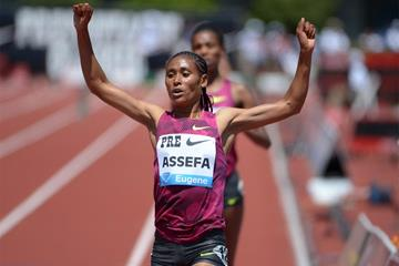 Sofia Assefa breaks the 3000m steeplechase meeting record at the IAAF Diamond League meeting in Eugene (Kirby Lee)