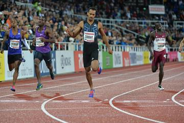 Machel Cedenio winning the 400m at the 2015 IAAF Diamond League meeting in Stockholm (Deca Text&Bild)