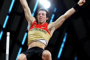 Germany's Malte Mohr celebrates in the men's pole vault qualification (Getty Images)