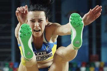 Ukraine's Hanna Melnychenko in the long jump at the IAAF World Indoor Championships (Getty Images)