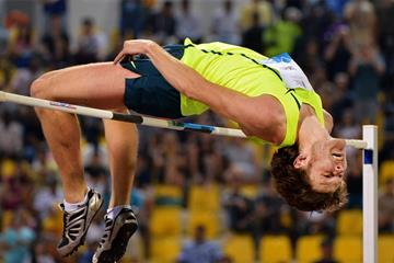 Ivan Ukhov clears 2.41m to win the high jump at the IAAF Diamond League meeting in Doha (Deca Text & Bild)