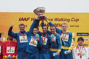 Ukraine celebrates their team gold medal in the men's 20km at the 2014 IAAF World Race Walking Cup in Taicang (Getty Images)