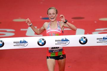 Anna Hahner at the 2013 Frankfurt Marathon (Victah Sailer)