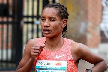 Amane Gobena in the 2015 Bogota International Half Marathon (Organisers / Victah Sailer)