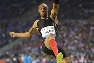 Godfrey Mokoena at the 2014 IAAF Diamond League final in Brussels (Gladys von der Laage)
