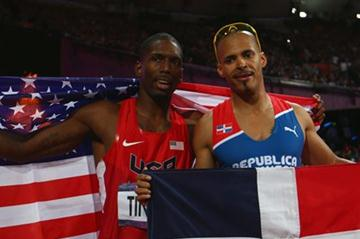 (R-L) Gold medalist Felix Sanchez of Dominican Republic and silver medalist Michael Tinsley of the United States pose after the Men's 400m Hurdles final on Day 10 of the 2012 Olympic Games in London on 6 August 2012 (Getty Images)