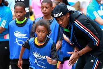 Yohan Blake at the IAAF / Nestlé Kids' Athletics in New York, June 2014 (Victah Sailer / IAAF)