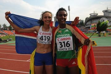 Gold medallist Anita Hinriksdottir and silver medallist Dureti Edao after the 800m at the 2013 IAAF World Youth Championships (Getty Images)