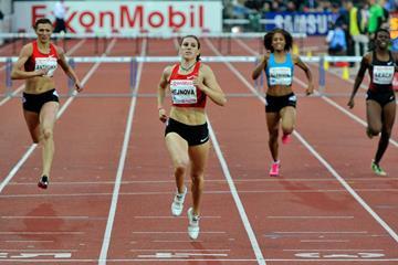 Zuzana Hejnova takes the 400m Hurdles at the Oslo Diamond League (Hasse Sjogren)