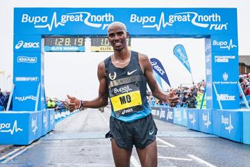 Mo Farah after finishing second at the 2013 Bupa Great North Run (danvernonphotography.com for Nova International (organisers))