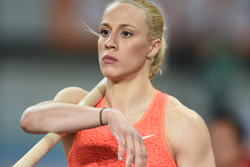 Nikoleta Kyriakopoulou, winner of the pole vault at the IAAF Diamond League meeting in Shanghai (Errol Anderson)