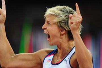 Gold winner Barbora Spotakova of Czech Republic  celebrating her victory in the Women's Javelin Throw Final  of the London 2012 Olympic Games  on August 9, 2012 (Getty Images)