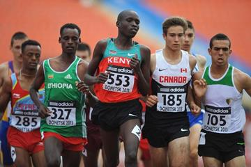 Robert Kiptoo Biwott in the boys' 1500m at the IAAF World Youth Championships 2013 (Getty Images)