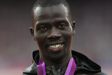 Bronze medalist Abel Kiprop Mutai of Kenya poses during the medal ceremony for the Men's 3000m Steeplechase final on Day 10 of the London 2012 Olympic Games on 6 August 2012 (Getty Images)