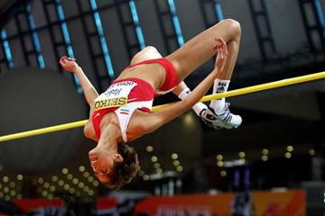 Reigning world indoor champion Blanka Vlasic of Croatia competes in the high jump qualification in Doha (Getty Images)