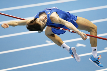 Marco Fassinotti in the high jump at the IAAF World Indoor Championships (AFP / Getty Images)