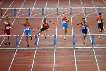 Kariem Hussein on his way to victory in the 400m hurdles at the European Championships (Getty Images)