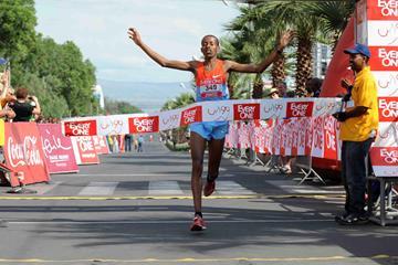 Habtamu Assefa winning the Hawassa Half (Organisers)