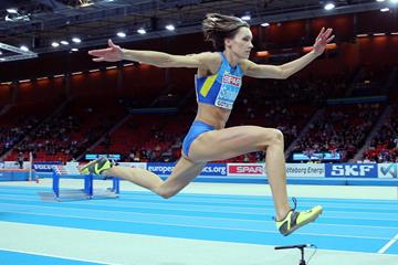 Olha Saladuha on her way to gold in the triple jump (Getty Images)