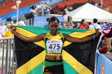 Yanique Thompson in the girls' 100m Hurdles (Flag) at the IAAF World Youth Championships 2013  (Rachel Rominger)