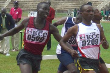 Justus Koech taking a narrow victory at the Kenyan Championships (Peter Njenga)