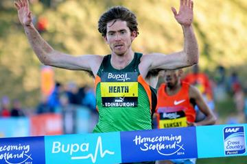 Garrett Heath wins the men's invitational race at the Bupa Great Edinburgh Cross Country (Mark Shearman)