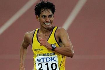 Determined! Jefferson Perez taking 20Km gold at the 2005 World Championships (Getty Images)