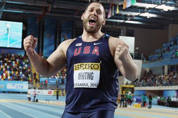 Ryan Whiting of the USA celebrates after winning gold in the men's Shot Put - WIC Istanbul (Getty Images)