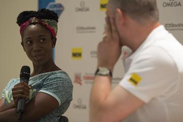 Shelly-Ann Fraser-Pryce ahead of the 2015 IAAF Diamond League meeting in Stockholm (DECA Text&Bild)